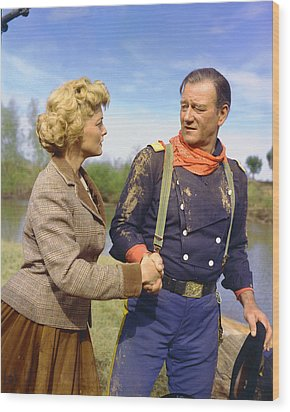 John Wayne In The Horse Soldiers Wood Print by Silver Screen