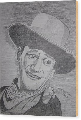 Wood Print featuring the painting John Wayne by Kathy Marrs Chandler