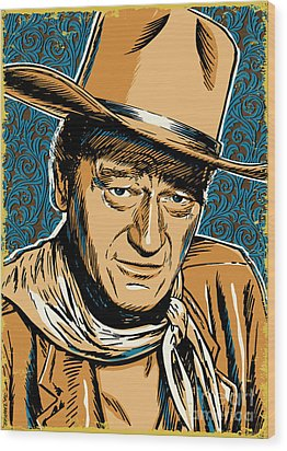 John Wayne Pop Art Wood Print