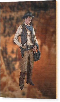 John Wayne The Cowboy Wood Print by Thomas Woolworth