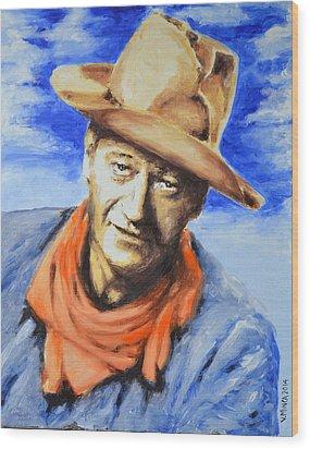 John Wayne Wood Print by Victor Minca