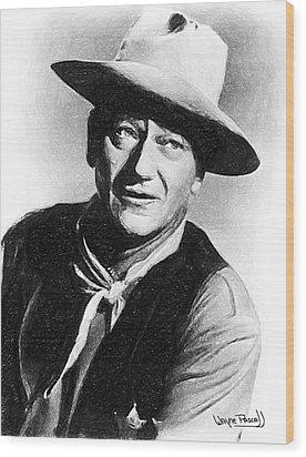 John Wayne Wood Print by Wayne Pascall
