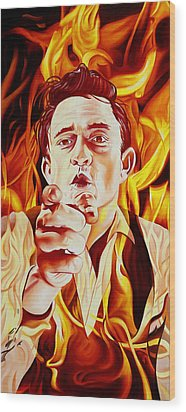 Wood Print featuring the painting Johnny Cash And It Burns by Joshua Morton