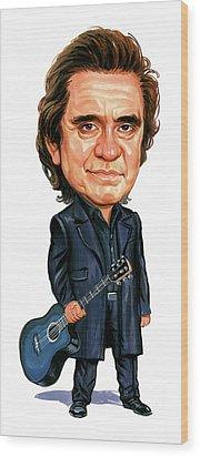 Johnny Cash Wood Print by Art