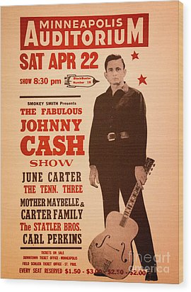 Johnny Cash Wood Print by Bob Hislop
