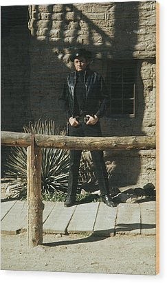 Wood Print featuring the photograph Johnny Cash Gunfighter Hitching Post Old Tucson Arizona 1971 by David Lee Guss