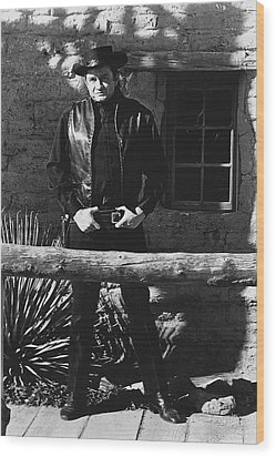 Wood Print featuring the photograph Johnny Cash Gunslinger Hitching Post Old Tucson Arizona 1971  by David Lee Guss