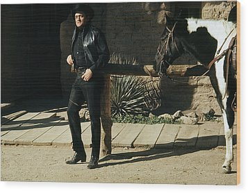 Wood Print featuring the photograph Johnny Cash Horse Old Tucson Arizona 1971 by David Lee Guss