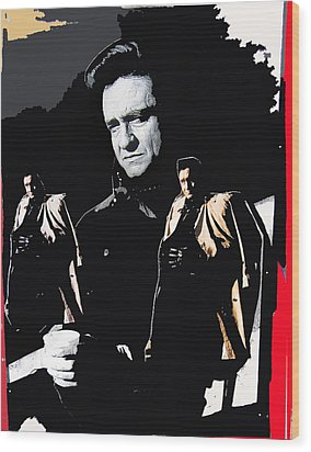 Wood Print featuring the photograph Johnny Cash Multiples  Trench Coat Sitting Collage 1971-2008 by David Lee Guss