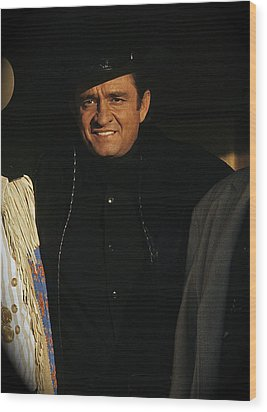 Wood Print featuring the photograph Johnny Cash Music Homage Solitary Man Flanked By Chill Wills  Andy Devine Old Tucson Az 1971 by David Lee Guss