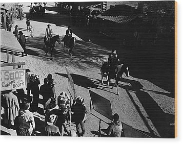 Wood Print featuring the photograph Johnny Cash Riding Horse Filming Promo Main Street Old Tucson Arizona 1971 by David Lee Guss