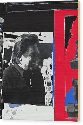 Wood Print featuring the photograph Johnny Cash  Smiling Collage 1971-2008 by David Lee Guss