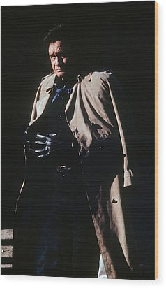 Wood Print featuring the photograph Johnny Cash Trench Coat Old Tucson Arizona 1971 by David Lee Guss