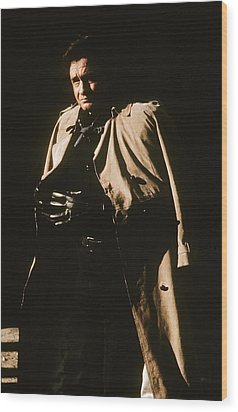 Wood Print featuring the photograph Johnny Cash Trench Coat Variation  Old Tucson Arizona 1971 by David Lee Guss