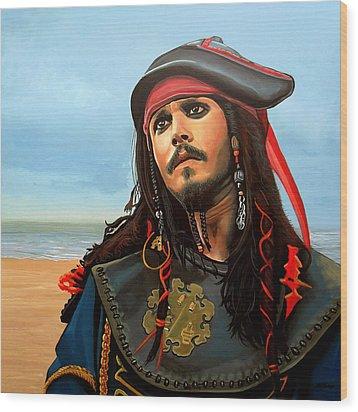Johnny Depp As Jack Sparrow Wood Print by Paul Meijering
