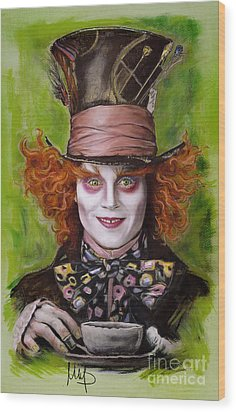 Johnny Depp As Mad Hatter Wood Print by Melanie D