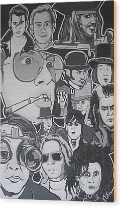 Johnny Depp Character Tribute Wood Print by Gary Niles