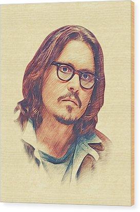 Johnny Depp Wood Print by Marina Likholat