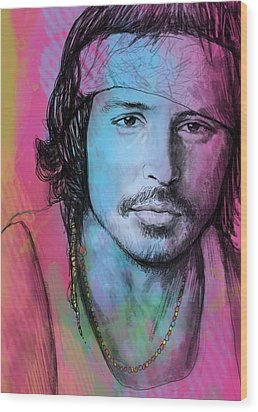 Johnny Depp - Stylised Pop Art Drawing Sketch Poster Wood Print by Kim Wang