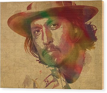 Johnny Depp Watercolor Portrait On Worn Distressed Canvas Wood Print by Design Turnpike