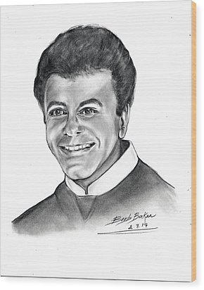 'johnny Mathis' Wood Print by Barb Baker