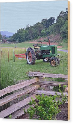John's Green Tractor Wood Print by Larry Bishop