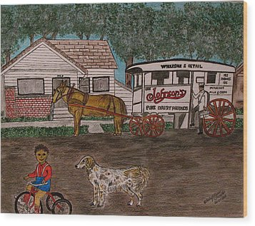 Wood Print featuring the painting Johnsons Milk Wagon Pulled By A Horse  by Kathy Marrs Chandler