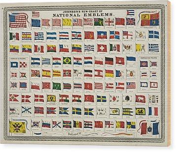 Johnsons New Chart Of National Emblems Wood Print by Georgia Fowler
