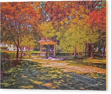 Join Me In The Gazebo On This Beautiful Autumn Day Wood Print by Thomas Woolworth