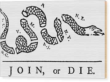 Join Or Die Wood Print by Anonymous