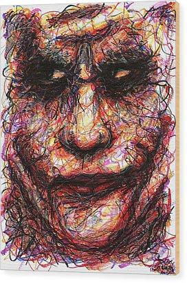 Joker - Face II Wood Print by Rachel Scott