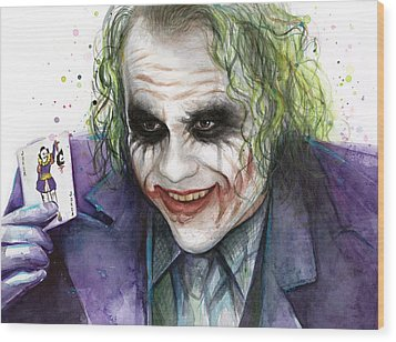 Joker Watercolor Portrait Wood Print by Olga Shvartsur