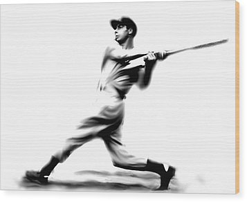 Joltin Joe Dimaggio  Joe Dimaggio Wood Print by Iconic Images Art Gallery David Pucciarelli