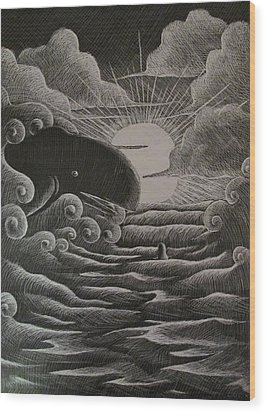 Jonah And The Whale Wood Print by Catlin Perry
