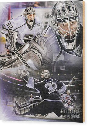 Jonathan Quick Collage Wood Print by Mike Oulton