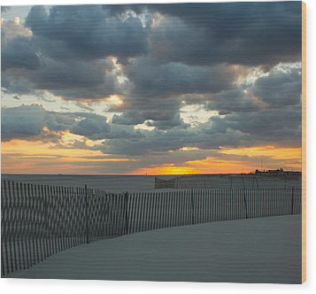 Wood Print featuring the photograph Jones Beach Sunset Three by Jose Oquendo