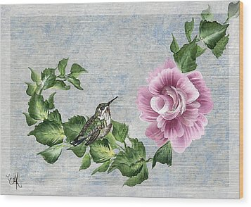 Wood Print featuring the painting Joni's Flying Jewel by Ella Kaye Dickey
