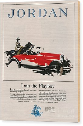 Jordan 1926 1920s Usa Cc Cars Horses Wood Print by The Advertising Archives