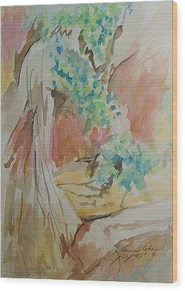 Jordan River Sources Wood Print by Esther Newman-Cohen