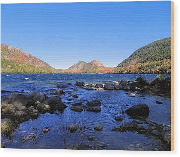 Wood Print featuring the photograph Jordon Pond 2 by Gene Cyr