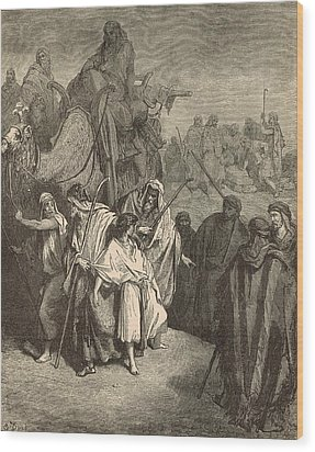 Joseph Sold Into Egypt Wood Print by Antique Engravings