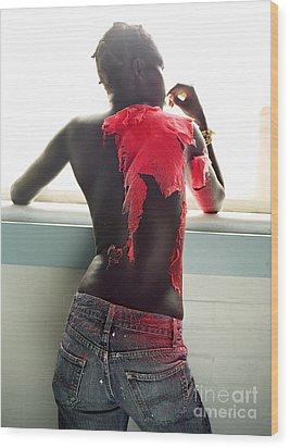 Josephine Red Wood Print by Rebecca Harman
