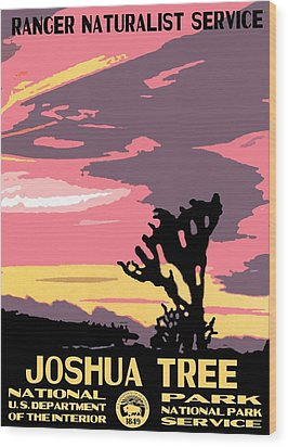 Joshua Tree National Park Vintage Poster Wood Print by Eric Glaser
