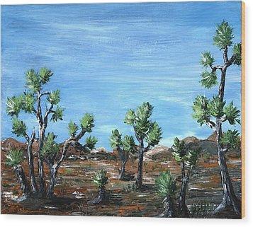 Joshua Trees Wood Print by Anastasiya Malakhova