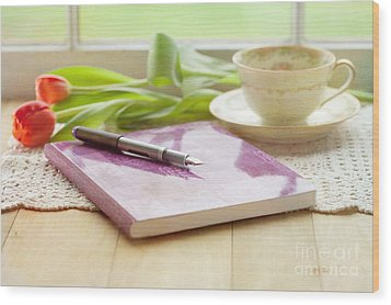 Journal And Coffee Wood Print by Kay Pickens