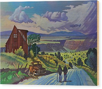 Wood Print featuring the painting Journey Along The Road To Infinity by Art James West