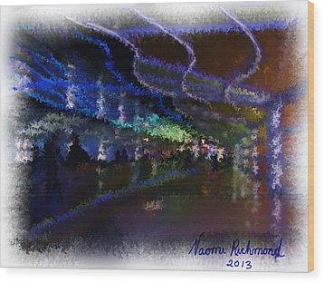 Journey Through The Neon Hallway - Chicago Ohare Wood Print by Naomi Richmond