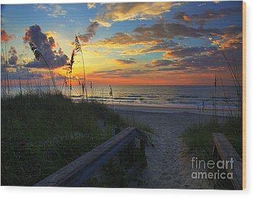 Joy Comes In The Morning Sunrise Carolina Beach Nc Wood Print by Wayne Moran