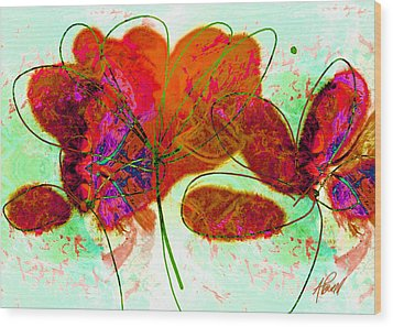 Joy Flower Abstract Wood Print by Ann Powell