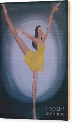 Wood Print featuring the painting Joy by Marisela Mungia
